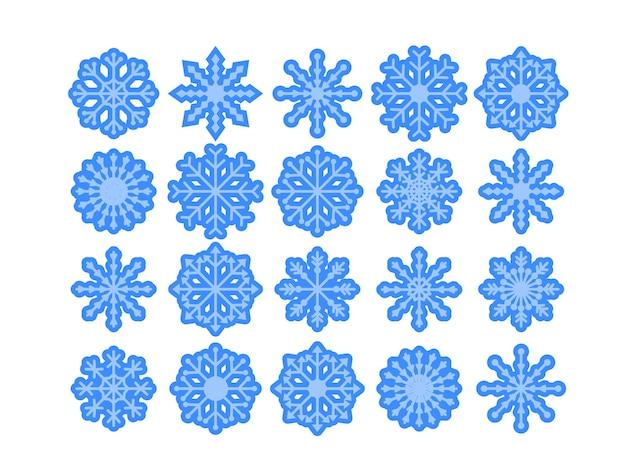 さまざまな雪片モデルのセット