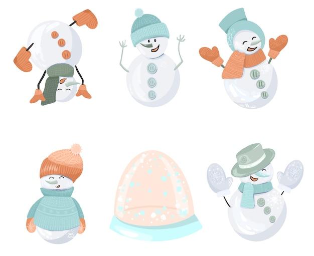 Набор разных снеговиков