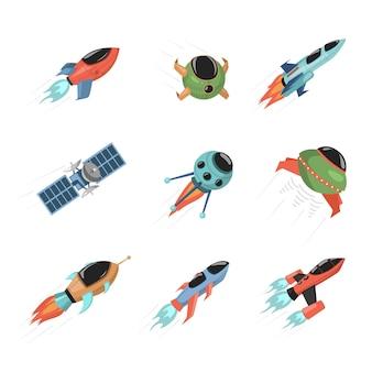 さまざまな宇宙船と衛星のセット