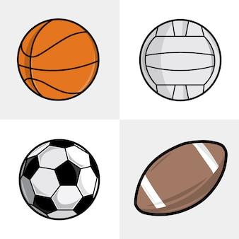 다른 스포츠 볼 세트입니다. 축구, 농구, 배구 및 축구 공.