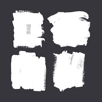 さまざまな正方形のブラシストロークのセット。手描きイラスト