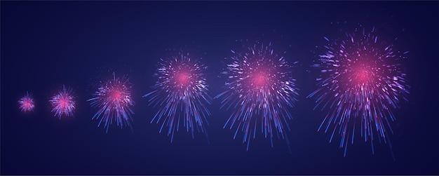 Набор различных этапов взрыва фейерверка на темно-фиолетовом фоне