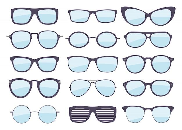 さまざまなスタイルのメガネのセット。ファッションとライフスタイル。おしゃれな眼鏡フレーム形状。