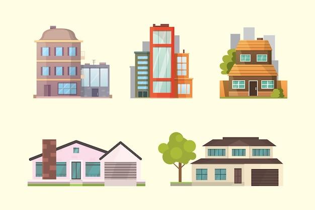 Набор жилых домов разных стилей. городская архитектура ретро и современные здания. иллюстрации шаржа перед домом.
