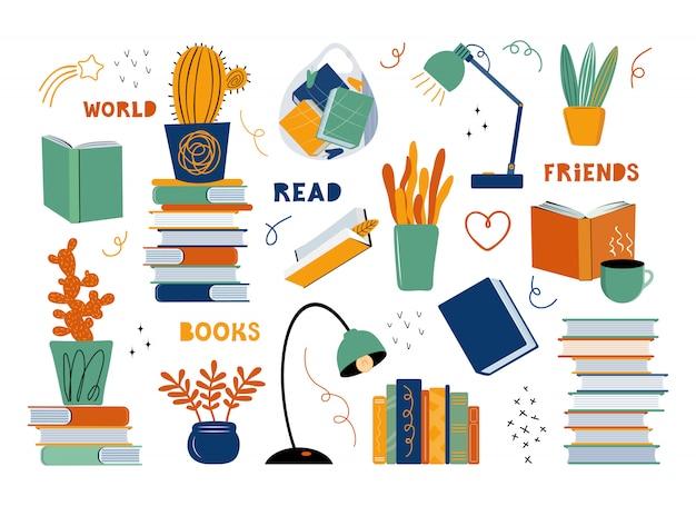 Набор различных предметов на тему литературы и чтения. книги, учебники, комнатные растения, настольная лампа, пакет с книгами, кружка чая или кофе