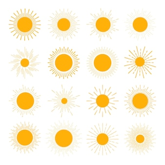さまざまな太陽のアイコンのセット。太陽はまっすぐな光線を沈める