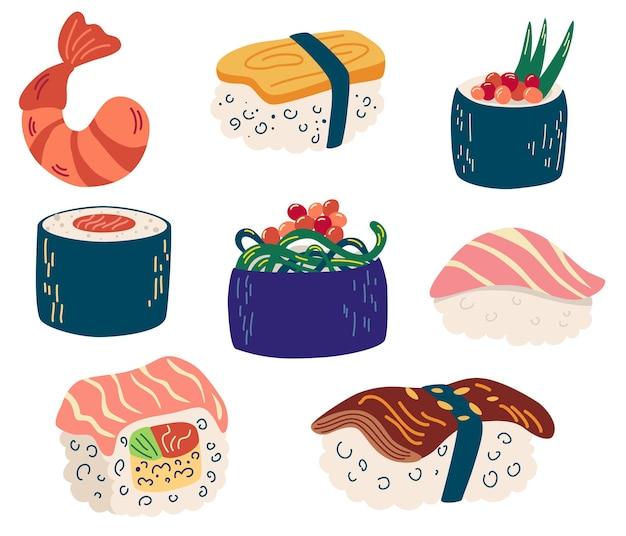다른 스시와 롤 세트입니다. 참치, 연어, 장어, 새우, 야채를 곁들인 초밥. 전통적인 신선한 원시 음식입니다. 잡지, 주방 섬유, 메뉴 표지, 웹 페이지에 적합합니다. 벡터 평면 그림입니다.