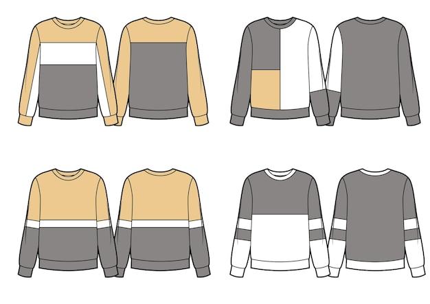 さまざまなスウェットシャツのデザインのベージュグレーと白のカラーブロックのセット