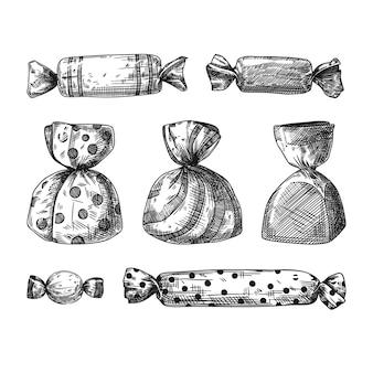 Набор различных сладостей в обертке, изолированные на белом фоне. эскиз,