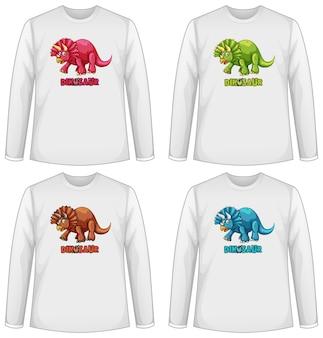 恐竜とさまざまなtシャツのセット