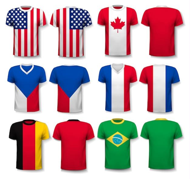 世界の旗がプリントされたさまざまなtシャツのセット。白いtシャツの透明なテンプレートが含まれています