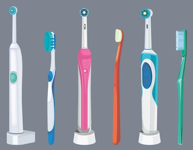 Набор различных зубных щеток. инструменты для ухода за полостью рта.