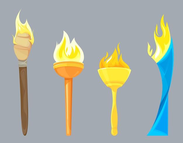 Набор различных факелов, изолированные на сером
