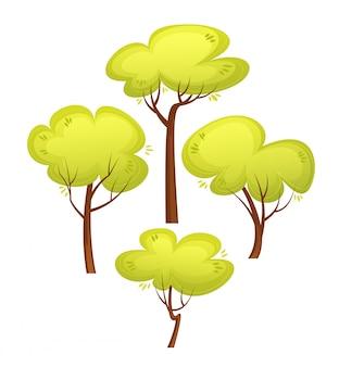 다른 나무 만화 스타일의 집합입니다. 여름 녹색 나무. 만화 삽화