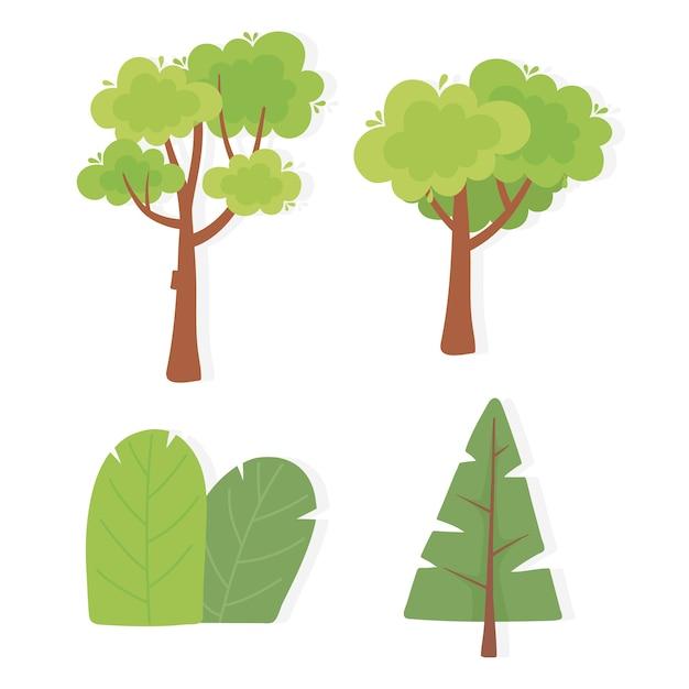 さまざまな木の植生自然風景孤立アイコンイラストのセット