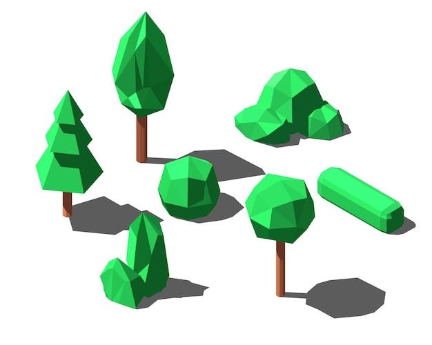 그림자, 간단한 스타일과 다른 나무의 집합입니다. 삽화.