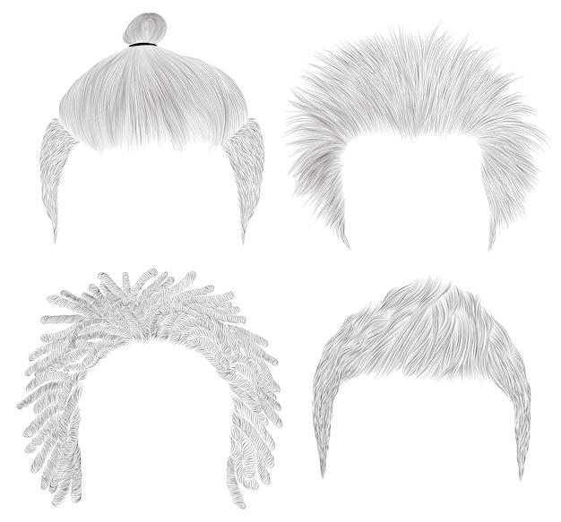 異なるトレンディな男の毛のセットです。スケッチ。美容style.shaggyドレッドヘアパン