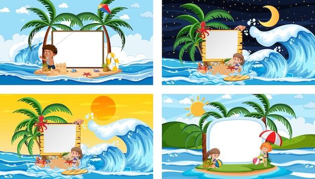 Набор различных сцен тропического пляжа с пустым баннером