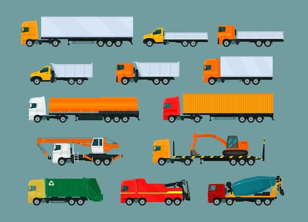 Набор различных грузовиков. иллюстрация.