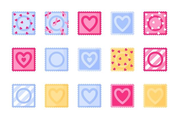 콘돔 포장의 다른 유형 및 색상 세트