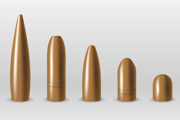 異なる種類の弾丸のセット
