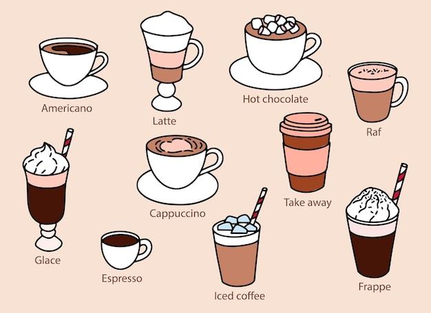 さまざまな種類のコーヒーのセット。カフェのメニュー。簡単な描画。