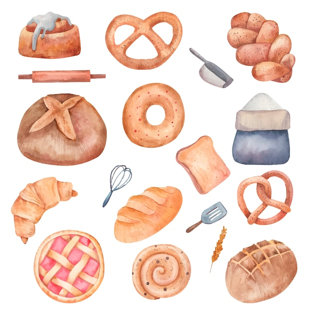 Набор различных видов хлеба, бублики, рулеты, мука, акварель еда иллюстрации в векторе на белом фоне