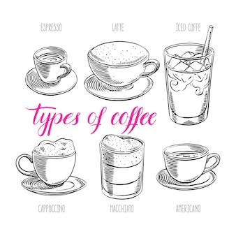 さまざまな種類のコーヒーのセット。手描きイラスト