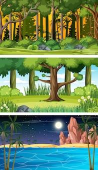 다양한 유형의 숲 수평 장면 세트