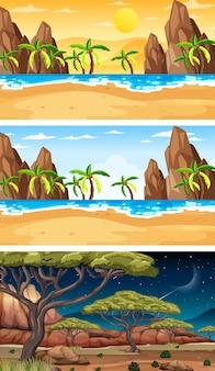 Набор различных типов лесных горизонтальных сцен