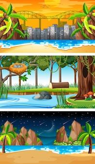 다양한 유형의 숲 가로 장면 세트 무료 벡터