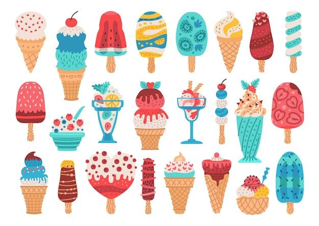 막대기에 있는 다양한 종류의 아이스크림 바 세트