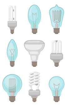 さまざまな種類の電球のセット。白熱電球とコンパクトな蛍光灯。