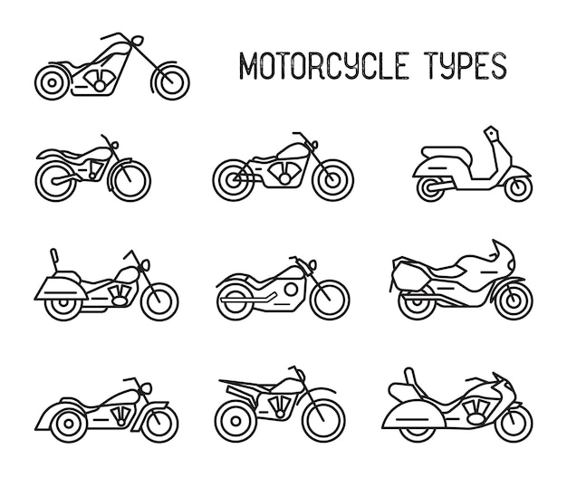 さまざまな種類のモトテクニックのセット。オートバイとモペット、線画のアイコン。コレクションの黒と白のベクトルイラストは、白い背景で隔離。