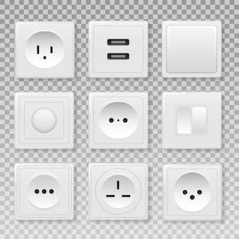 Набор различных типов выключателей питания. силовая розетка, электричество выключите и включите реалистичные картинки. квадратный прямоугольный и круглый белый настенный выключатель и розетки.