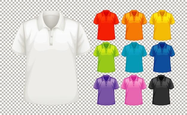 さまざまな色のさまざまな種類のシャツのセット