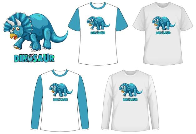 Набор различных типов рубашки в теме динозавров с логотипом динозавра