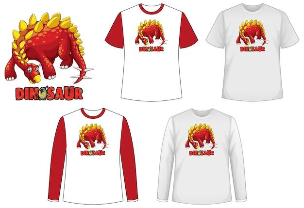 공룡 로고가있는 공룡 테마의 다양한 종류의 셔츠 세트