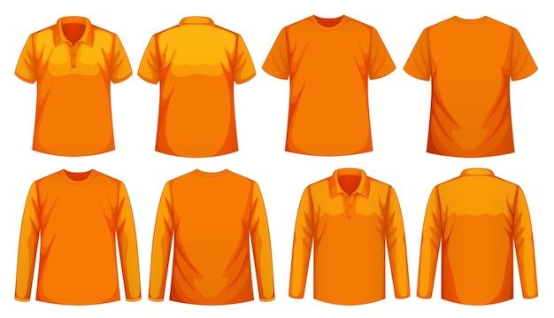 같은 색상의 다른 종류의 셔츠 세트