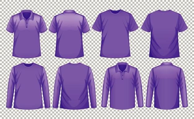 같은 색상의 다양한 종류의 셔츠 세트