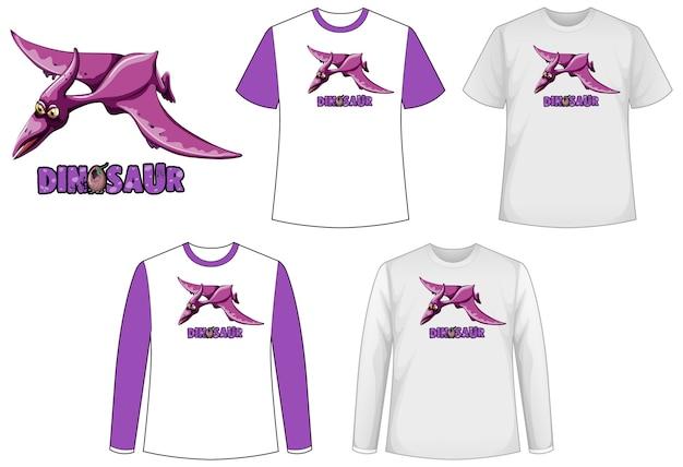 恐竜とシャツのさまざまな種類のセット