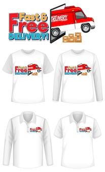Набор различных типов рубашек с быстрой и бесплатной доставкой логотипа на рубашках