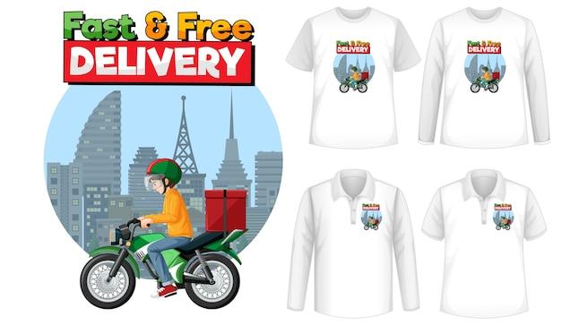 Набор различных типов рубашек с быстрой и бесплатной доставкой логотипа на футболках