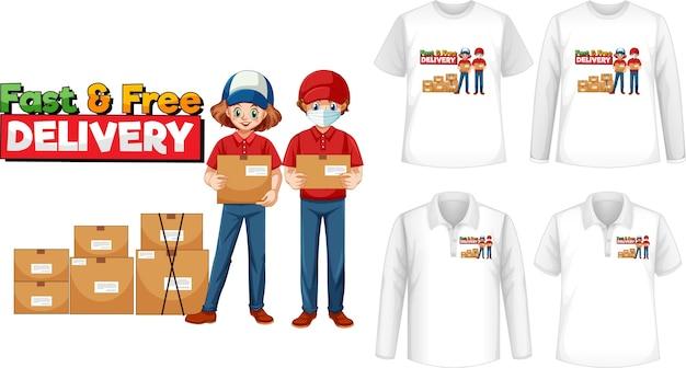 シャツに高速で無料配信のロゴ画面が付いたさまざまな種類のシャツのセット