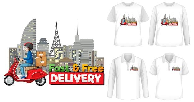 셔츠에 빠르고 무료 배송 로고 화면이있는 다양한 종류의 셔츠 세트