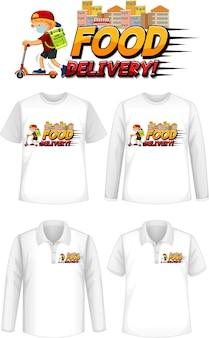 셔츠에 음식 배달 로고 화면이있는 다양한 종류의 셔츠 세트