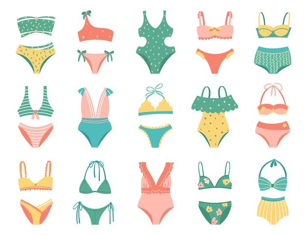 Набор разных видов купальников