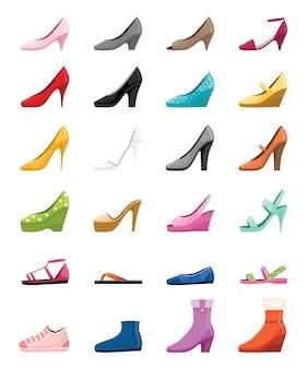 さまざまな種類の女性の靴のセット、側面図