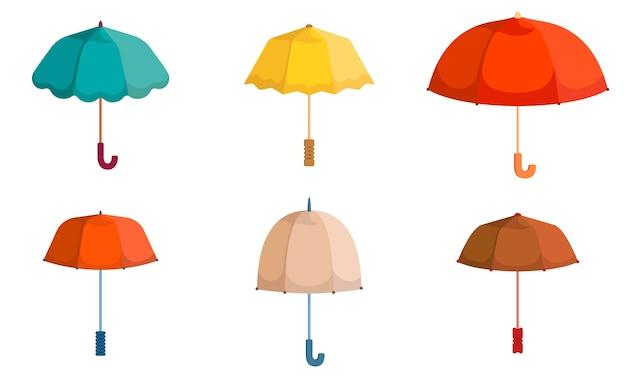 Набор разных зонтиков. красивые аксессуары в мультяшном стиле.