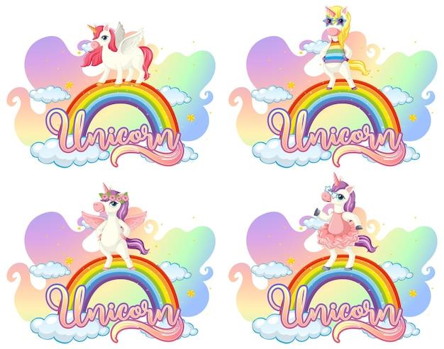 Набор различных мультипликационных персонажей единорога на радуге с шрифтом единорога